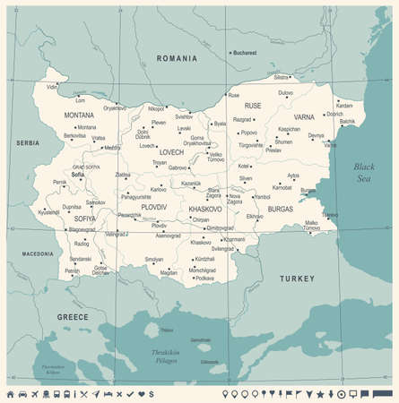 Bulgaria Map -Vintage High Detailed Vector Illustration