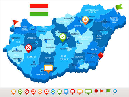 Hungary map and flag - High Detailed Vector Illustration Vettoriali