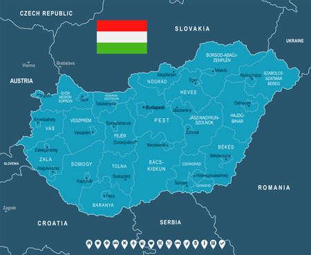 Hungary map and flag - High Detailed Vector Illustration Ilustração
