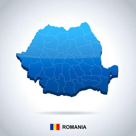 Roemenië kaart en vlag - hoog gedetailleerde vectorillustratie Stockfoto - 92100544
