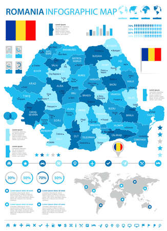 Romania infographic map and flag - High Detailed Vector Illustration 向量圖像