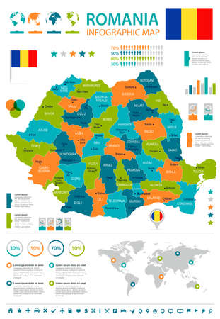 Romania infographic map and flag - High Detailed Vector Illustration Illustration
