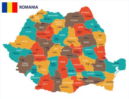 ルーマニアの地図と旗 - 高詳細ベクトルイラスト