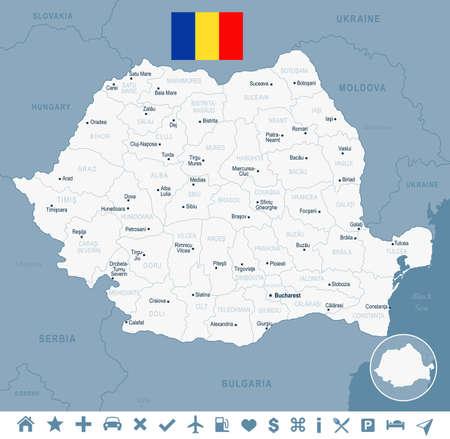 Mapa y bandera de Rumania - Ilustración de vector detallado alto Foto de archivo - 92430246