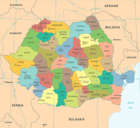 Romania Map - High Detailed Vector Illustration