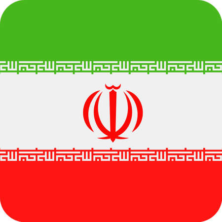 Iran Flag Vector Square Flat Icon - Illustration 일러스트