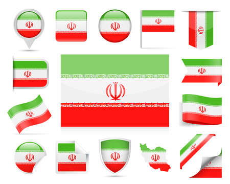 Iran Flag Set - Vector Illustration