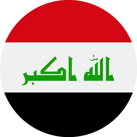 Iraq Flag Vector Round Flat Icon - Illustration Çizim