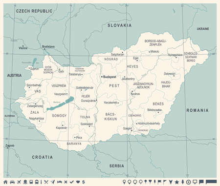 Hungary Map -Vintage High Detailed Vector Illustration. 일러스트