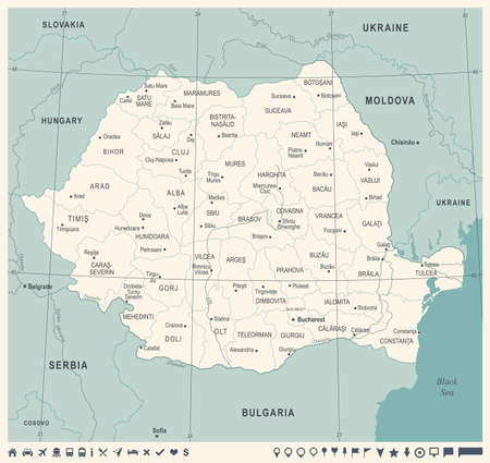 Romania Map -Vintage High Detailed Vector Illustration