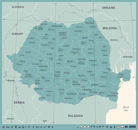 Mappa della Romania - alta illustrazione dettagliata di vettore dell'annata. Archivio Fotografico - 92508815