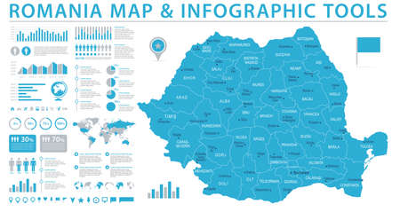 Romania map. Detailed info graphic. Vector illustration