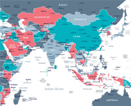 Southern Asia Map - Detailed Vector Illustration.