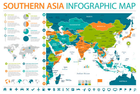 Southern Asia map. Detailed info graphic. Vector illustration Illustration