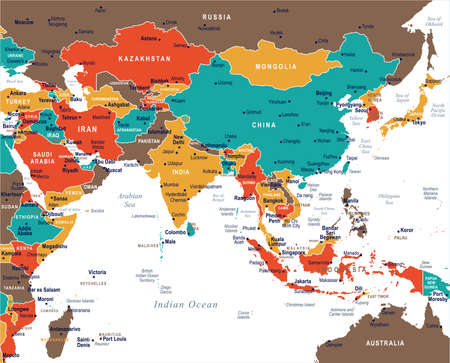 Southern Asia Map - Detailed Vector Illustration