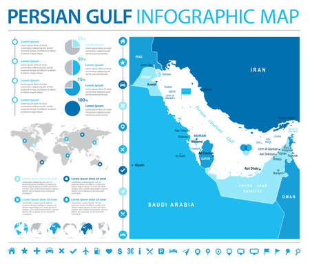 Persian Gulf Map - Detailed Info Graphic Vector Illustration