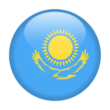 Kazakhstan Flag Vector Round Icon Illustration Vectores