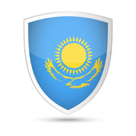 Kazakhstan Flag Vector Shield Icon Illustration