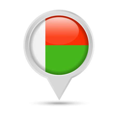 Madagascar Flag Round Pin Vector Icon - Illustration Ilustracja