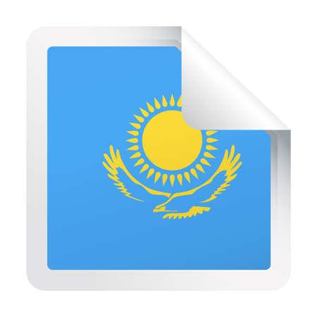 Kazakhstan Flag Vector Square Corner Paper Icon - Illustration Çizim