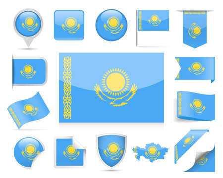 Kazakhstan Flag Set - Vector Illustration 일러스트