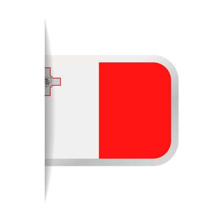 몰타 플래그 벡터 책갈피 아이콘 그림입니다.