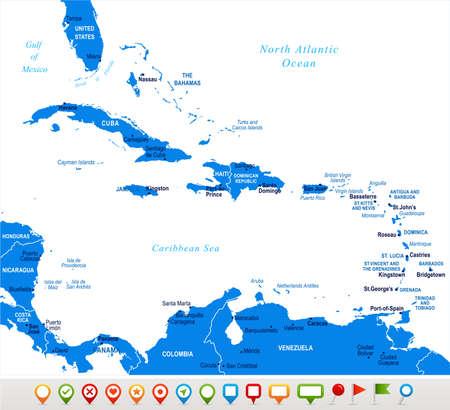カリブ海地図 - 詳細ベクトルイラスト