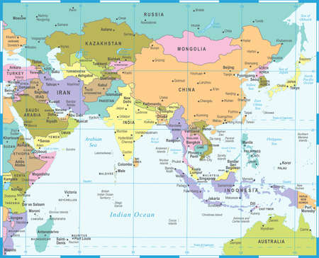 Southern Asia map detailed vector illustration. Illustration