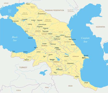 Caucasus Region Map - Detailed Vector Illustration. Иллюстрация