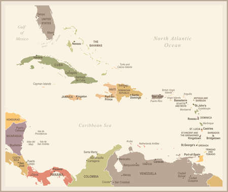 The Caribbean Map - Vintage Detailed Vector Illustration