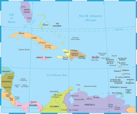 The Caribbean Map - Detailed Vector Illustration Illustration