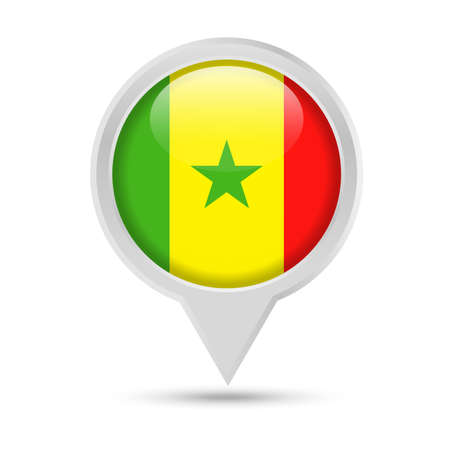 Senegal Flag Round Pin Vector Icon - Illustration Illustration