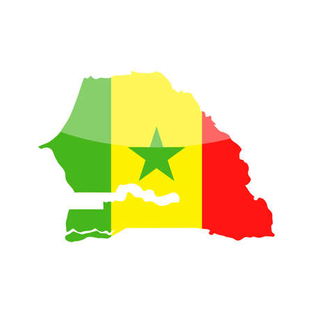 Senegal Flag Country Contour Vector Icon - Illustration