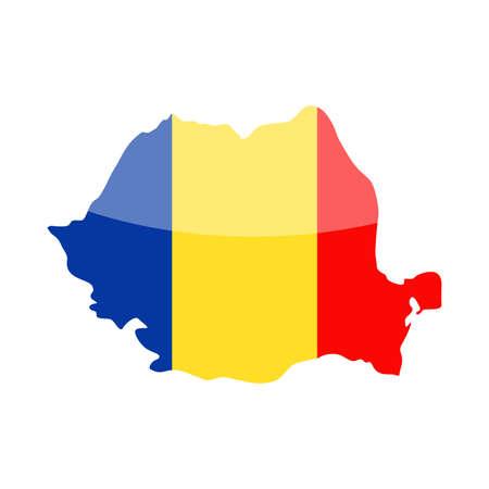 Romania Flag Country Contour Vector Icon Illustration.
