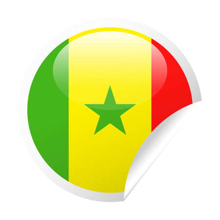 Senegal Flag Vector Round Corner Paper Icon - Illustration