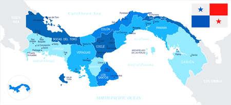 Mapa de Panamá y bandera - ilustración vectorial detallada alta Vectores