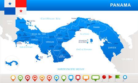 Mapa de Panamá y bandera - ilustración vectorial muy detallada Vectores