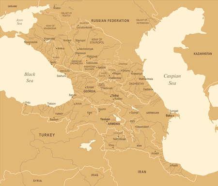 Caucasus Region Map - Vintage Detailed Vector Illustration