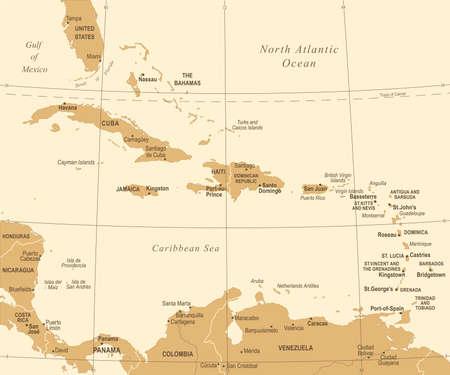 The Caribbean Map - Vintage Detailed Vector Illustration