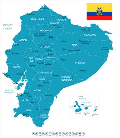 Ecuador kaart en vlag - hoge gedetailleerde vectorillustratie. Stock Illustratie
