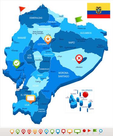 Ecuador map and flag - High Detailed Vector Illustration