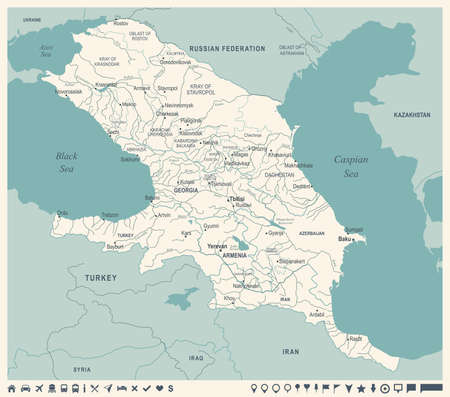 Caucasus Region Map - Vintage Detailed Vector Illustration