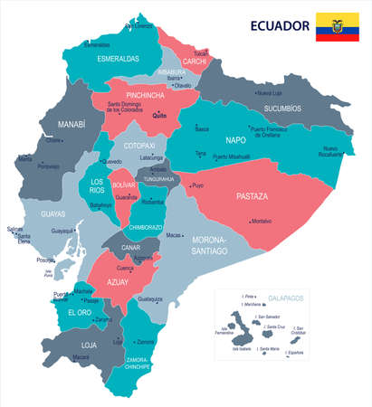 Ecuador map and flag - High Detailed Vector Illustration