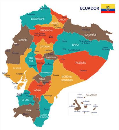 エクアドルの地図と旗 - 高詳細ベクトルイラスト