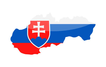 Slovakia Flag Country Contour Vector Icon -   illustration.