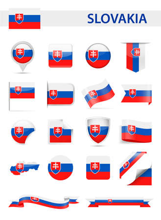 Slovakia Flag Set - Vector Illustration