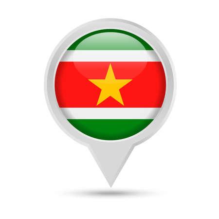 Suriname Flag Round Pin Vector Icon - Illustration Illustration