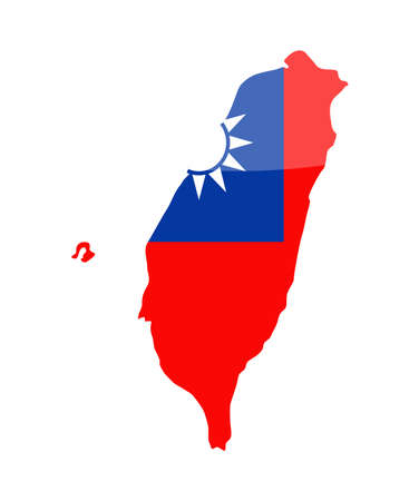 Taiwan Flag Country Contour Vector Icon - Illustration  イラスト・ベクター素材