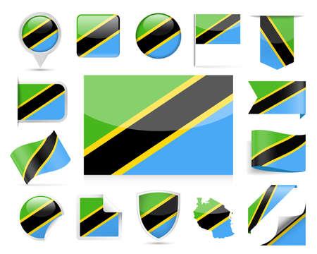 Tanzania Flag in Set  Vector Illustration