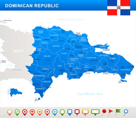 Dominican Republic map and flag - highly detailed vector illustration